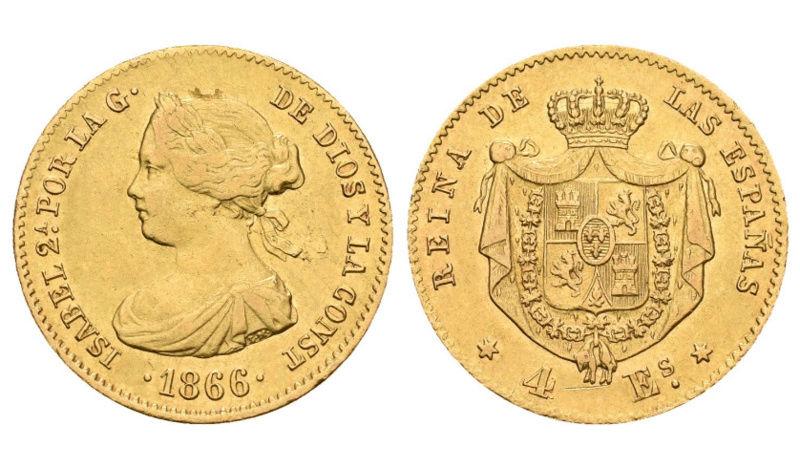 4 Escudos 1866 Isabel II. Madrid Canvas10