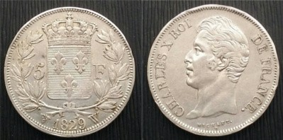 5 Francos Francis Carlos X  1829 Carlos10