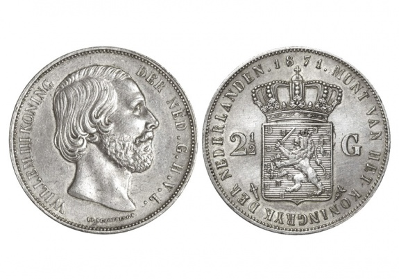 2 1/2 Gulden Willem III Paises Bajos 1871 Holand10