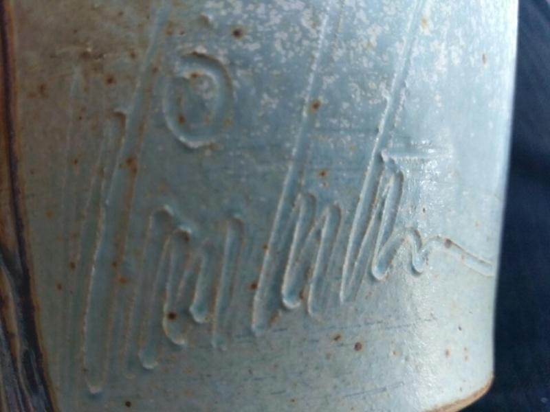 Pottery vase signed anyone read the signature  Img_2021