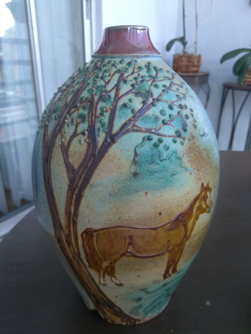 Pottery vase signed anyone read the signature  Img_2022