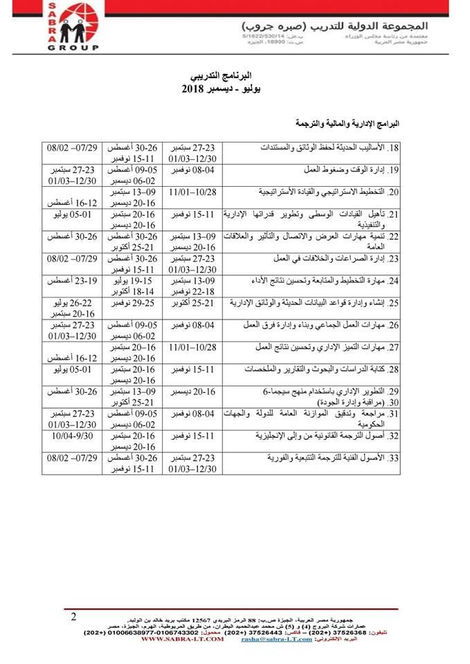 البرنامج التدريبي الاداري والمالي والترجمة يوليو – ديسمبر 2018 33193210