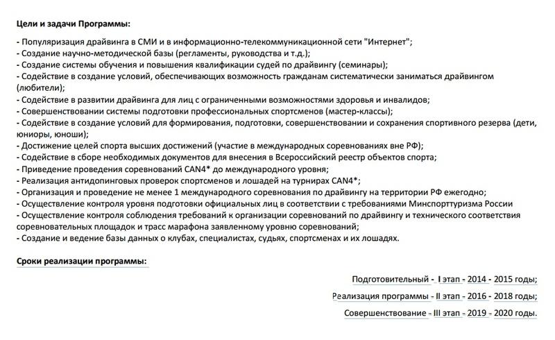 Программа развития дисциплины конного спорта – драйвинг в Российской Федерации на 2016 - 2020 годы 210