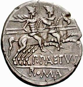 Glosario de monedas romanas. DIÓSCUROS. 410