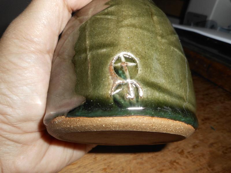 Green earthenware lumpy vase with T W Mark Dscn4912