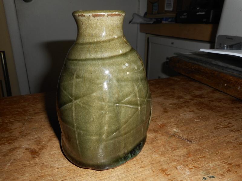Green earthenware lumpy vase with T W Mark Dscn4913