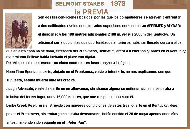 1978 - HACE 40 AÑOS - BELMONT STAKES - AFFIRMED TRIPLE CORONADO 1978-a18