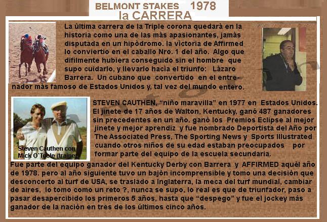 1978 - HACE 40 AÑOS - BELMONT STAKES - AFFIRMED TRIPLE CORONADO 1978-a20
