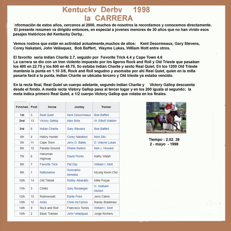 1998 KENTUCKY DERBY - REAL QUIET 1998_k13