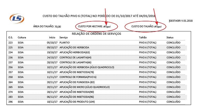 Erro #Tipo! no campo do relatório ao imprimir ou exportar Export10