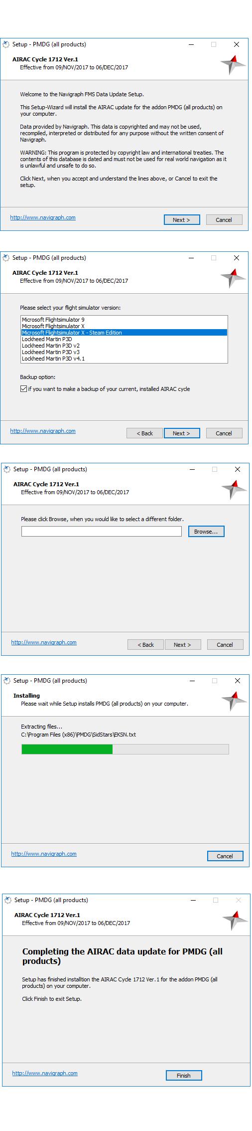 "Instalação ""Update"" Airac PMDG Update11"