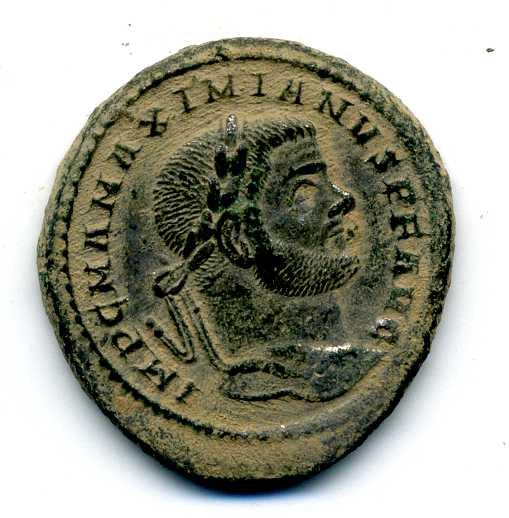Nummus de Maximiano Hércules. GENIO POPVLI ROMANI. Roma Varias14