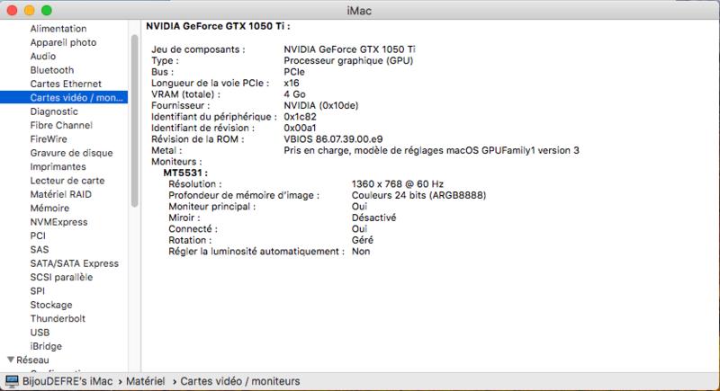 Impossible de démarrer sur MacOS Captur16