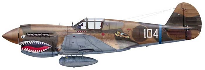 "Curtiss P40E  Warhawk   -  23 fighter group ""ex AVG Flying tirger"" -N°104  Major E F Rector  610"