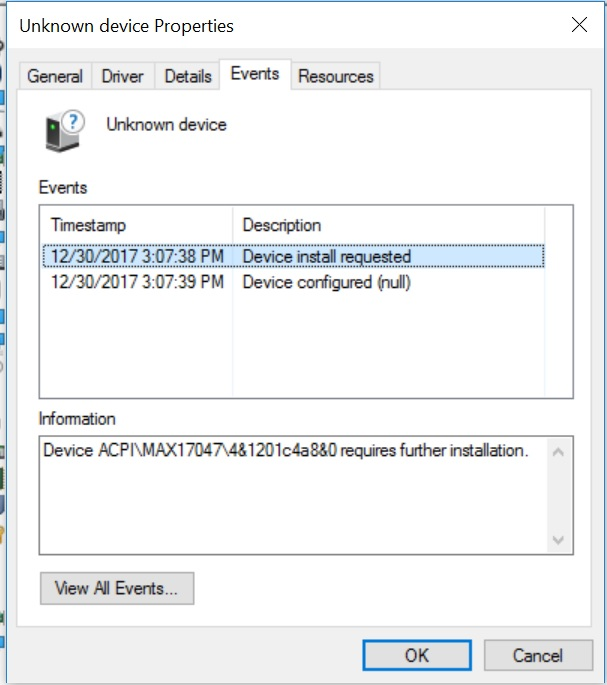 Win10 Pro install - missing driver (unknown device) Unk410