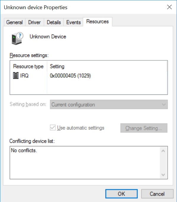Win10 Pro install - missing driver (unknown device) Unk510