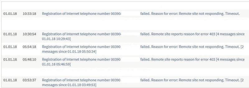TimeOut e/o reason code 403 per Registrazione numero telefonico Fritz11