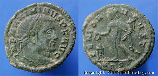 Nummus de Maximinino II Daza. GENIO AVGVSTI. Genio a izq. Aquilea Img_da10