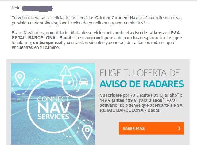 Radares para el citroën c4 Picasso con Connect Nav Radare11