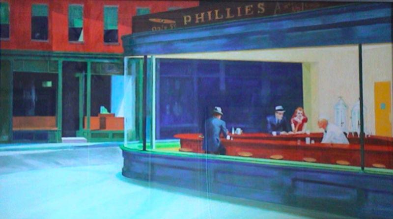 Edward Hopper. Nighthawks Copie. Pastel sur toile 152x84cm taille réelle  Captur40