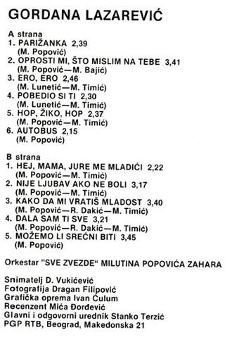 Gordana Lazarevic - Diskografija R-675914