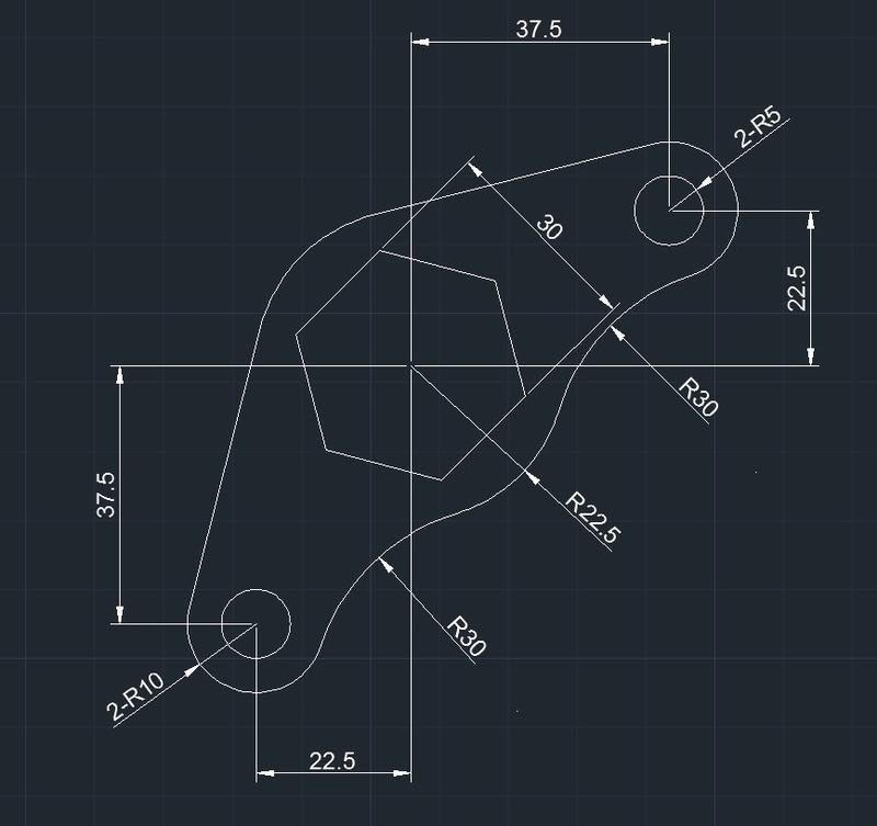 AutoCAD教學 幾何圖形習題02 2018-010