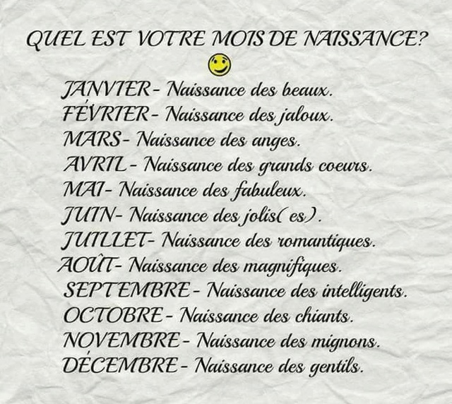 Quel est votre mois de naissance ? 15400310