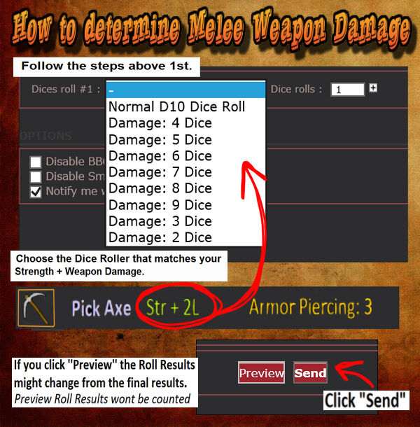 How to roll use the Dice Roller & Apply Weapon Damage Weapon10
