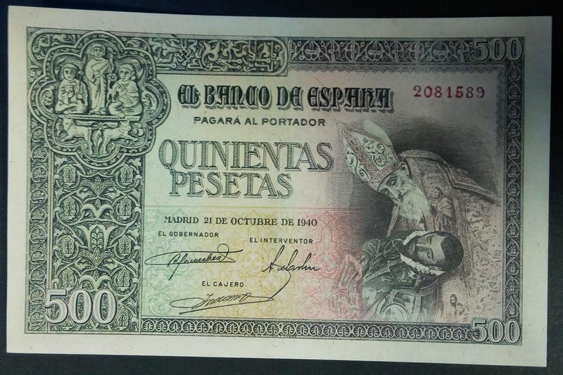 500 pesetas 21 de octubre de 1940 - Orgaz A10