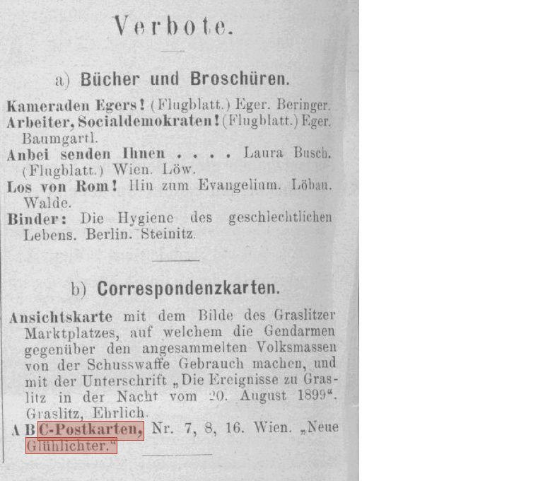 ABC Postkarten 1890-1900 der Zeitschrift Glühlichter Verbot10