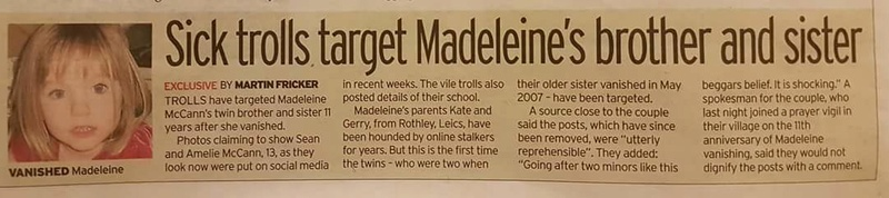 Sick trolls target Madeleine's brother and sister with online abuse Trolls10