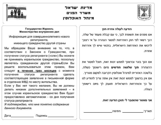 Как отказаться от гражданства Израиля?  Ai12