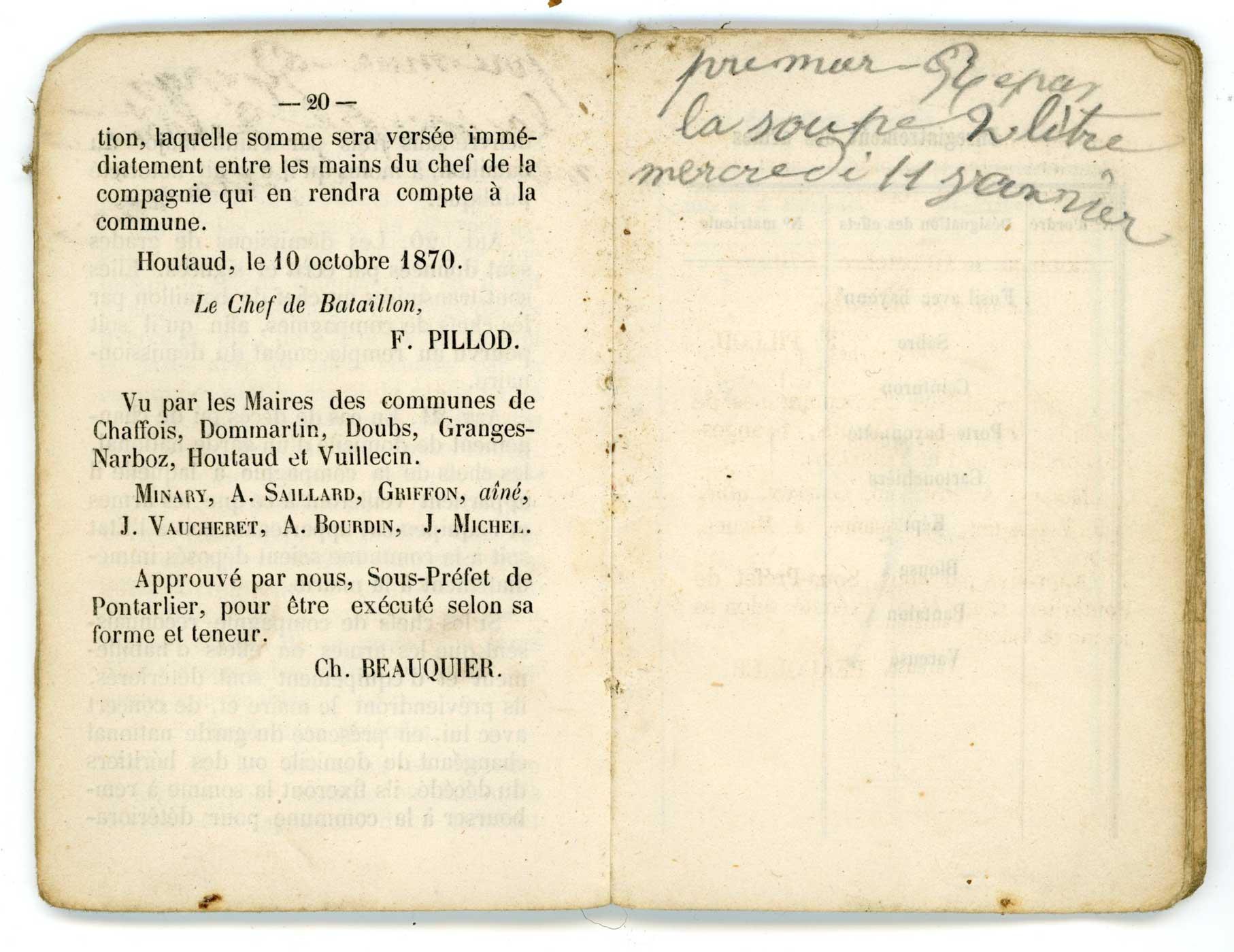 """Livret """"militaire"""" de Garde National 1870 Doc_li30"""