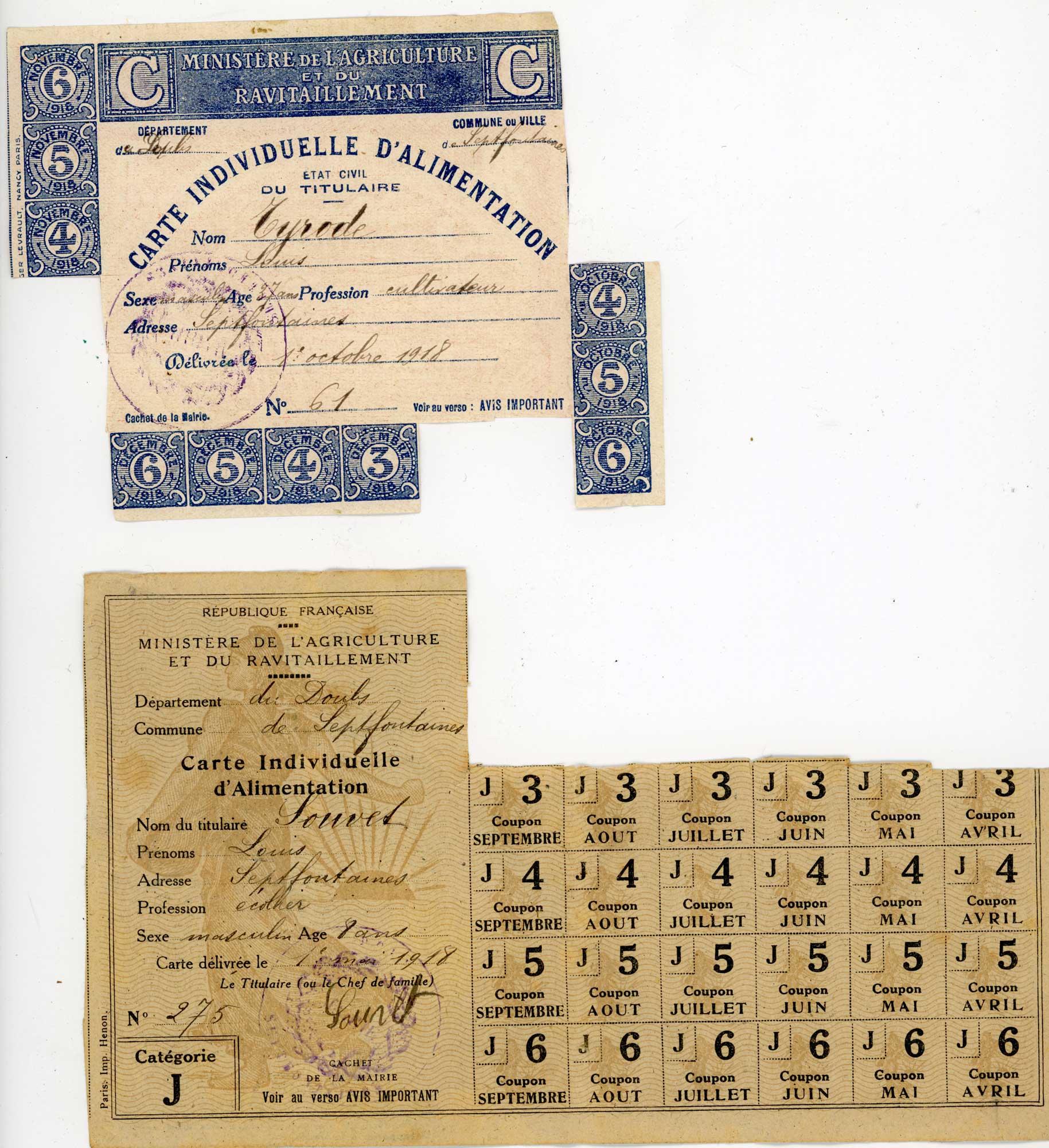 La vie à l'arrière : Cartes d'alimentations WWI Fr_14_17