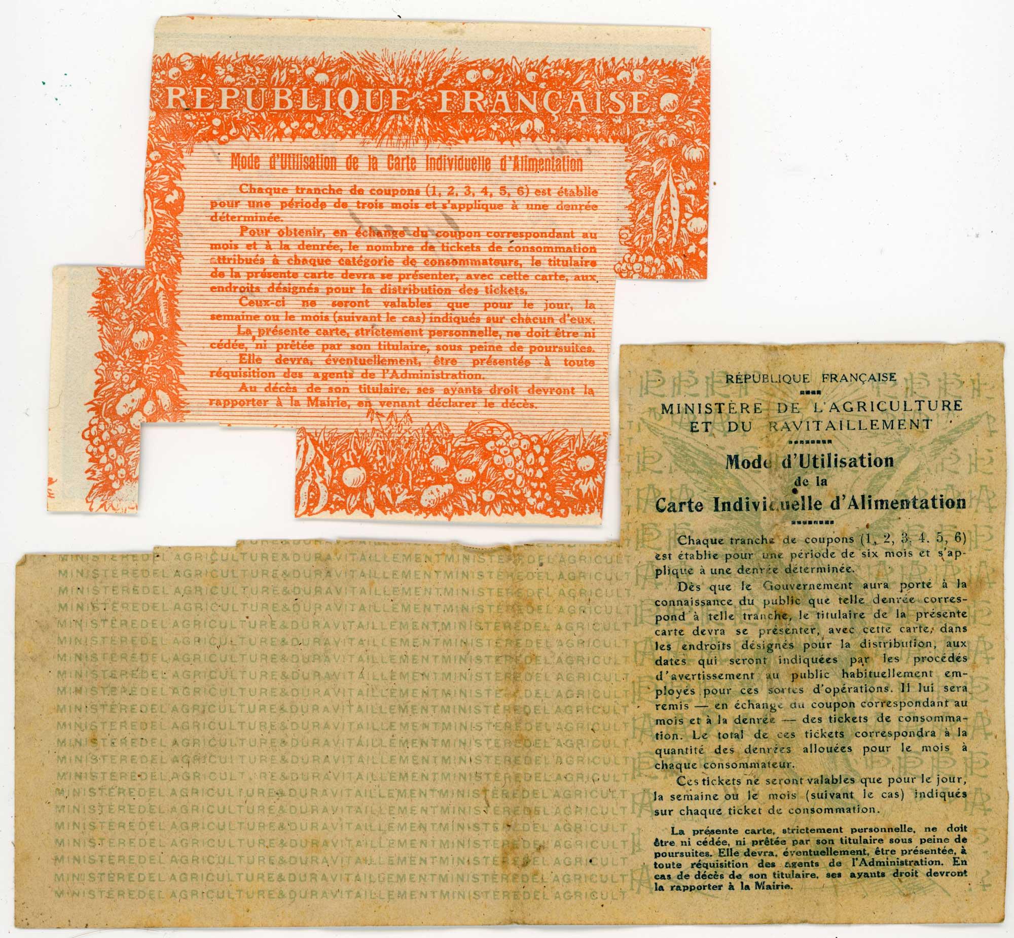 La vie à l'arrière : Cartes d'alimentations WWI Fr_14_18