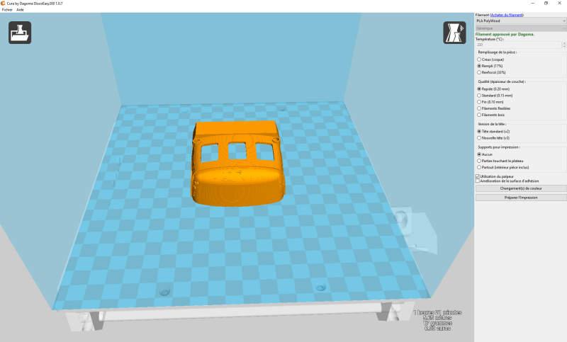 Autorail Picasso pour impression 3D Cura10