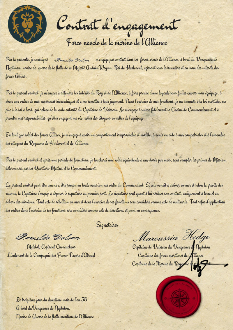 Contrat d'engagement de Romilda Dalson Savonn18