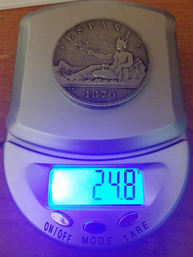 5 pesetas 1870 Gobierno Provisional 20180117