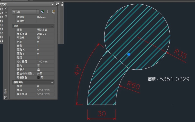 AutoCAD教學 幾何圖形習題08 Cad_oy10
