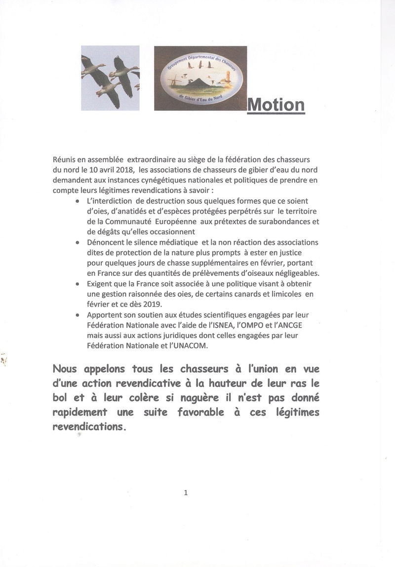 MOTION DES ASSOS des chasseurs gibier d'eau NORD 00411
