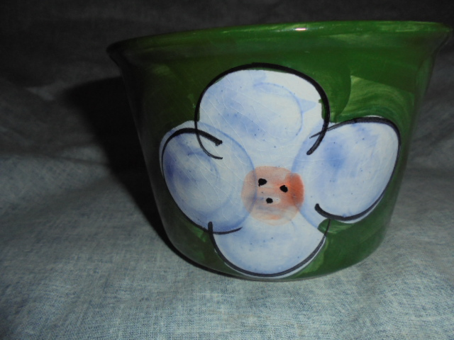 Christine Harris Green and pink floral teacup Dsc03226