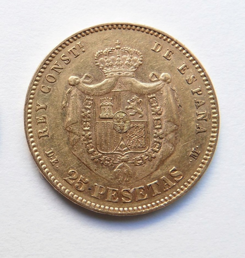 25 pesetas 1878. Alfonso XII. Ayuda con valoración Moneda16
