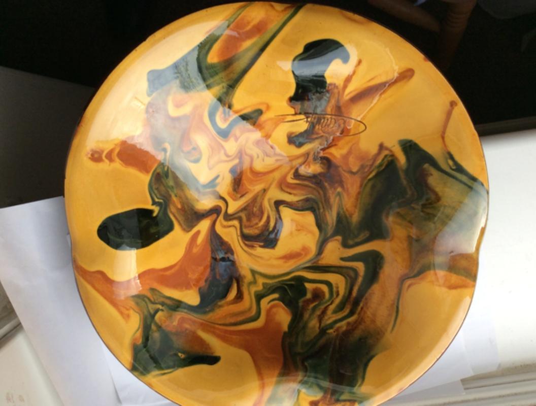 Slipware bowl / dish - Ceramy, Catalan, Spain 2346e110