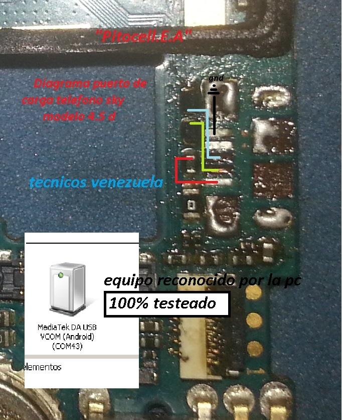 Reparación lineas de carga teléfono sky modelo 4.5 D Diagra12
