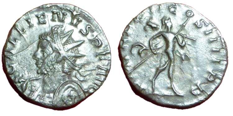 Antoniniano de Galieno. P M TR P VII COS IIII P P. Marte avanzando a dcha. Trier. Goebl_10