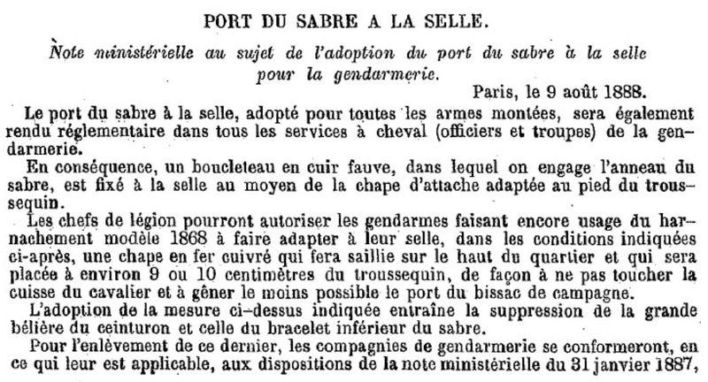 Sabre de cavalerie légère modèle 1822 : suppression du deuxième anneau Gend1810