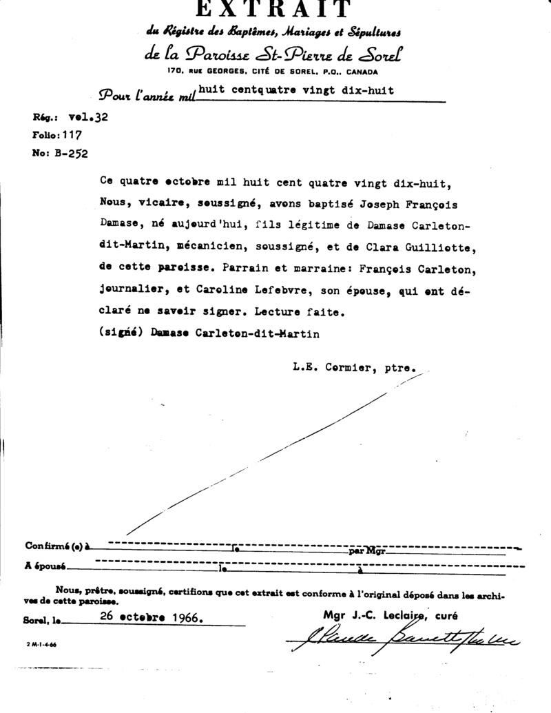 Mariage de William Damase Carleton Martin et Clara Guillot(te) - Page 2 Extrai10