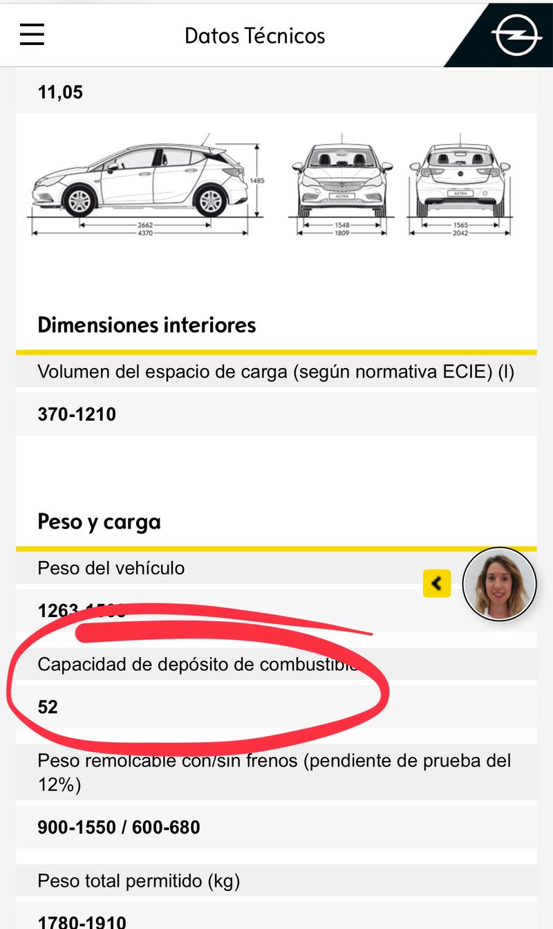 Capacidad del depósito Opel Astra k 05c49610