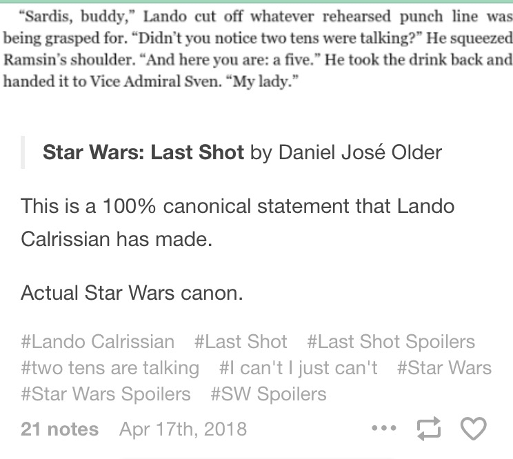 Discussion: Last Shot - A Han and Lando Novel by Daniel José Older Img_6711