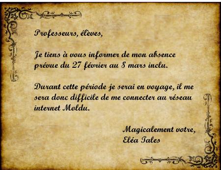 Absence justifiée et non prolongée d'Eléa Tales Parche11